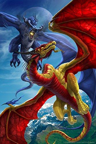 Slash and Burn Dragon Battle Tom Wood Fantasy Art Poster 12x18 (Tom Wood Dragon compare prices)