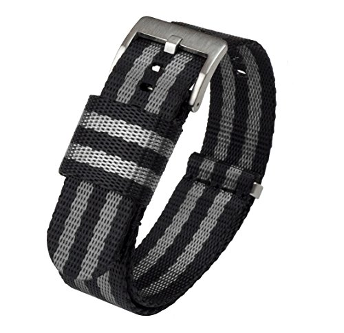 Barton Jetson NATO Style Watch Strap - 18mm 20mm 22mm or 24mm - Black/Grey (Bond) 20mm Nylon Watch Band