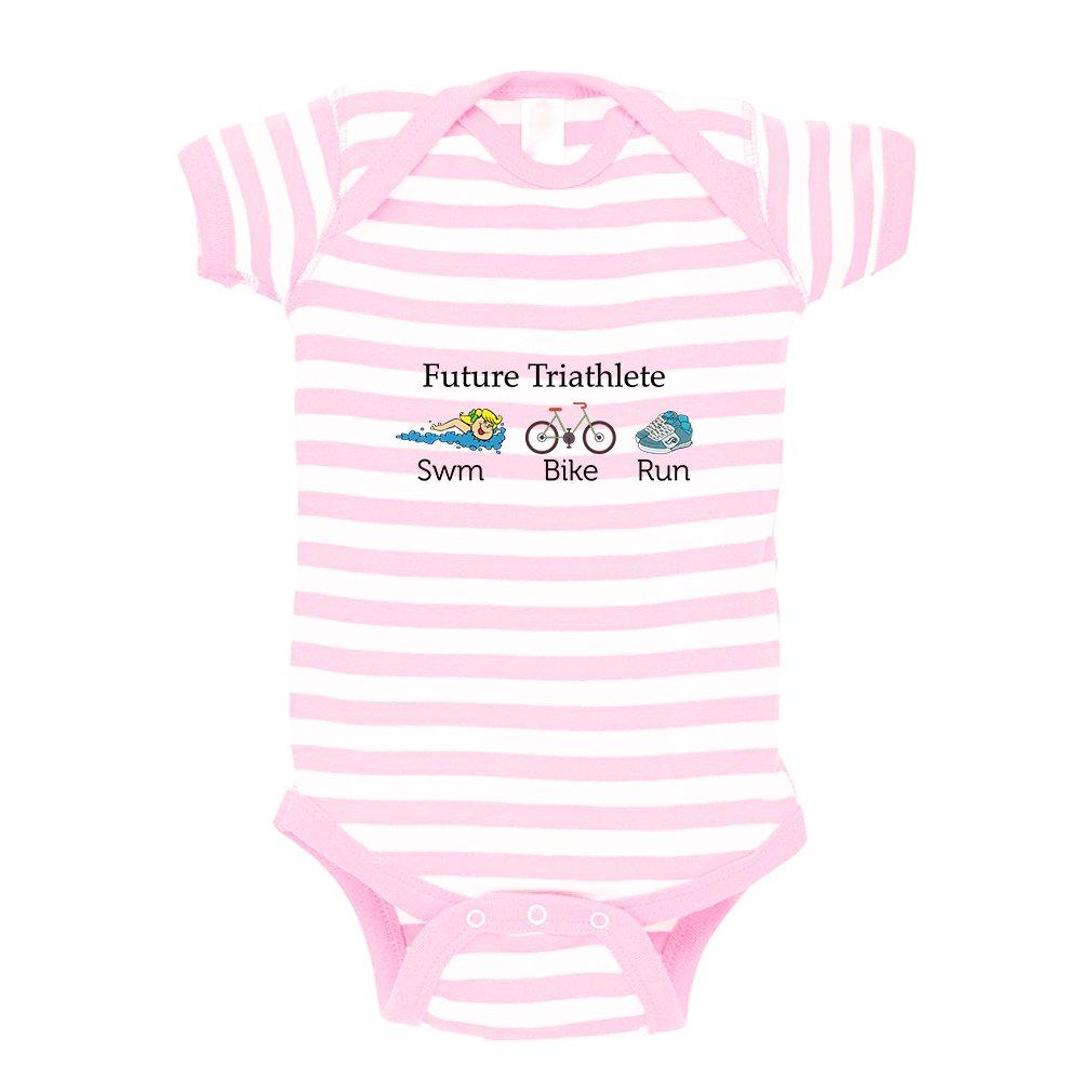 Cute Rascals Future Triathlete Swim Bike Run Baby Kid Stripe Fine Jersey Bodysuit Soft Pink 12 Months