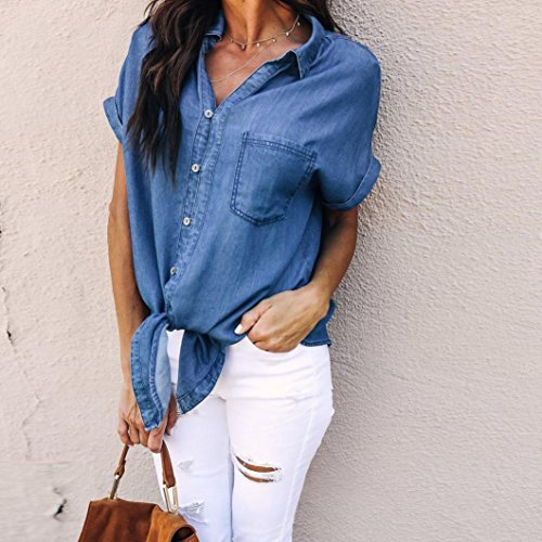 Corta Blu Scuro Estate Elegante a Pullover Camicia Donna Camicetta Manica Morbido Felpa Denim V LiucheHD Scollo In Casual Coreana Top vHwUTq