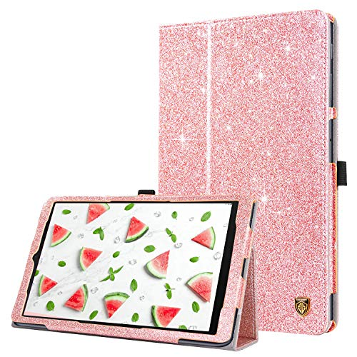 YINLAI Flip Case for Samsung Galaxy Tab A 10.1 2019, Leather Glitter Sparkle Folio Folding Stand with Auto Sleep/Wake Feature for Galaxy Tab A 10.1 Inch 2019 (SM-T510 / T515) - Rose Gold