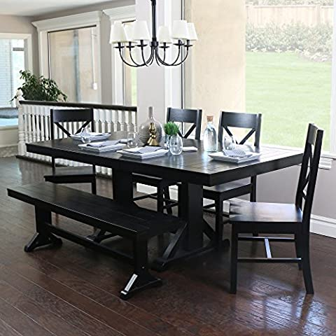 WE Furniture 6-Piece Black Solid Wood Dining Set - Extendable Dining Table Set