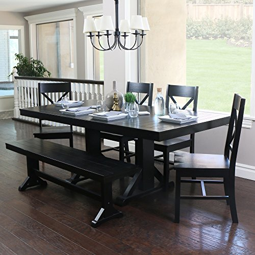 WE Furniture 6-Piece Black Solid Wood Dining Set