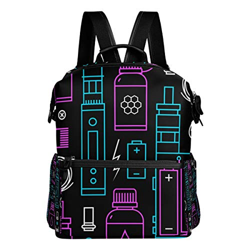 TARTINY Vector Seamless Pattern Vape Shop Ecigarette Laptop Backpack Leather Strap School Bag Outdoor Travel Casual Daypack (Best All In One E Cig)