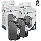 LD © Remanufactured Replacement Ink Cartridge for Hewlett Packard C6615DN (HP 15) Black (2 Pack)