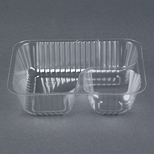 Carnival King Clear 2 Compartment Plastic Nacho Tray, 50-Pack, Small (Ranger Boat Plate)