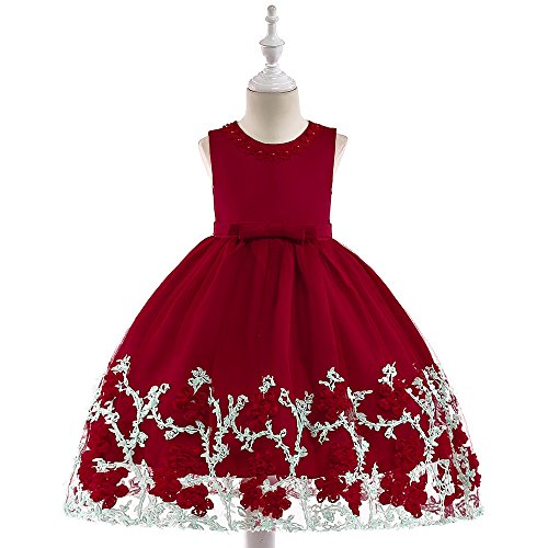 AIMJCHLD Flower Girl Dress Little Kids Formal Prom Pageant Wedding Party Birthday Bridesmaid Performance Fancy Summer Ball Gown Dresses for Girls Size 7 8 Years (Red (Spring Flowers Clothing)