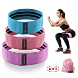 CHOOYOU Exercise Bands Hip Bands Resistance Bands Booty Workout Bands for Legs and Butt-Set of 3 Non Slip Cotton Loop Fitness Bands for Squats Yoga Pilates Multiple Training Levels -Pink