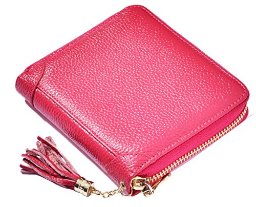 Easyoulife Womens Credit Card Holder Wallet Zip Leather Card Case RFID Blocking (Rose) by Easyoulife (Image #7)