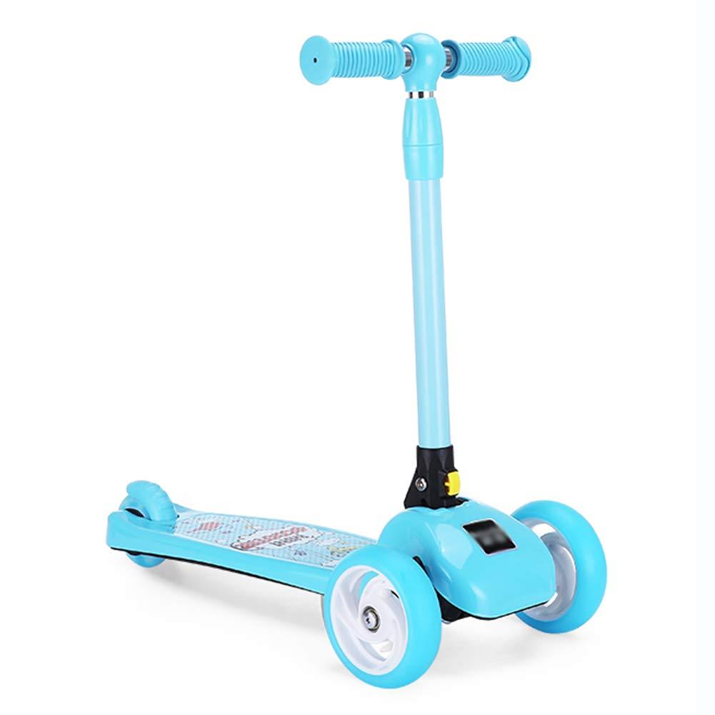 驚きの価格 キックスクーター三輪車スケートボードペダル式乗用スタントスクーターLED折りたたみTバーハンドルライトアップホイール付き調節可能な B07H9XG73D 青 青 B07H9XG73D 青 青, フカエチョウ:2fa786d6 --- a0267596.xsph.ru