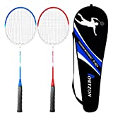 Premium Iron Alloy Frame Nylon Cable Oval Frame Indoor/Outdoor Professional Badminton Racket Set with Carrying Bag - for Both Offensive and Defensive Players, Good for All Levels