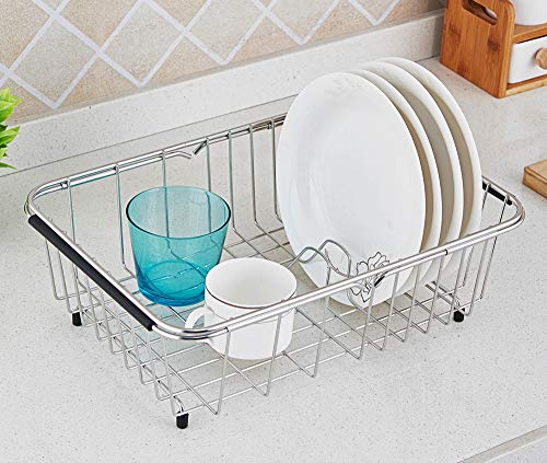 Adjustable Over Sink Dish Drying Rack Stainless Steel Dish Drainer, On Counter or In Sink Dish Rack Functional Kitchen Strainer - Rustproof