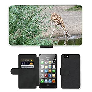Super Stella Cell Phone Card Slot PU Leather Wallet Case // M00103997 Giraffe Watering Hole Animal Safari // Apple iPhone 4 4S 4G