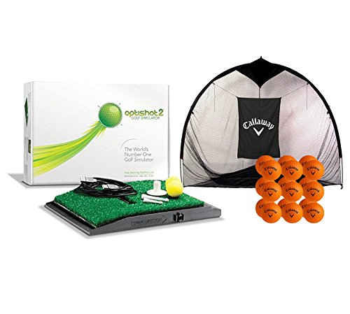 OptiShot 2 Home Simulator Bundle | Includes Callaway 7-foot Hitting Net & 18 HX Practice Balls by Dancin' Dogg