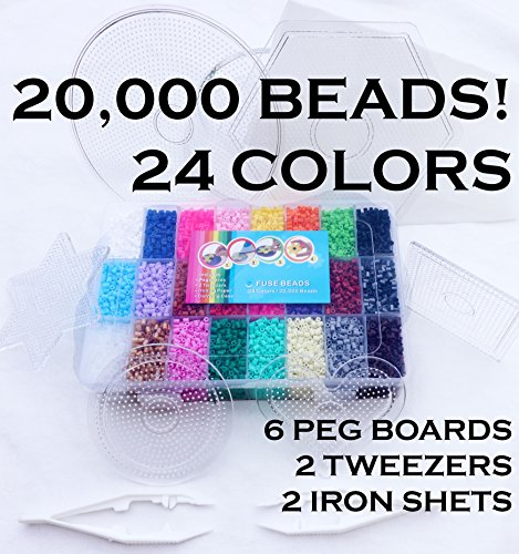 Mini Bead Set - California R&D 2.5mm MINI Beads 20,000; 24 Colors, 6 Boards, Tweezers, Ironing Paper – Works with Perler, Nabbi, Hama, Pyssla, Melty - Occupational Therapy Fine Motor Montessori Toys Autism ADHD