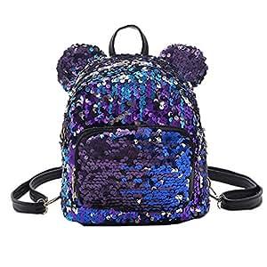 Wultia - Backpack Fashion Lady Cartoon Sequins School Backpack Travel Satchel Girls Student Panelled Zipper Backpack Mochila Purple