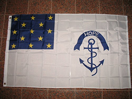 Ant Enterprises 3x5 Rhode Island Regiment Continental Army 3'x5' Poly House Banner Grommets 4 Rows Sewing Fly End Canvas Header UV-Resistant