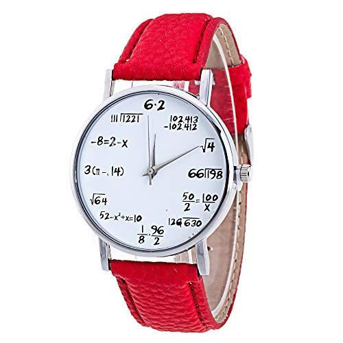 Watches for Womens,Yamally On Artificial Leather Band Math Formula Dial Wrist Quartz Analog Watch Red