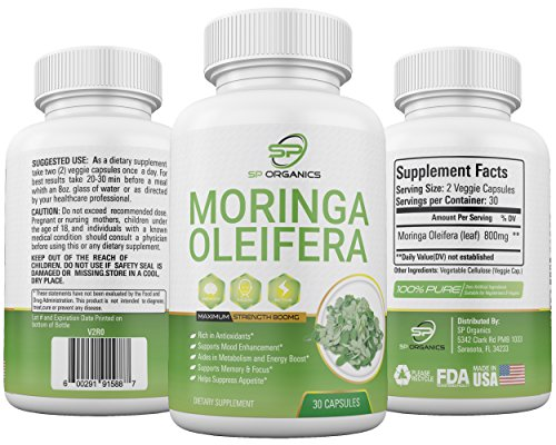 Organic Moringa Capsules, Herbal Powder Harvested Straight From Moringa Oleifera Tree, Detox High Strength, Nutritional Health, Antioxidant, Gluten Free, Vegan – 60 Capsules