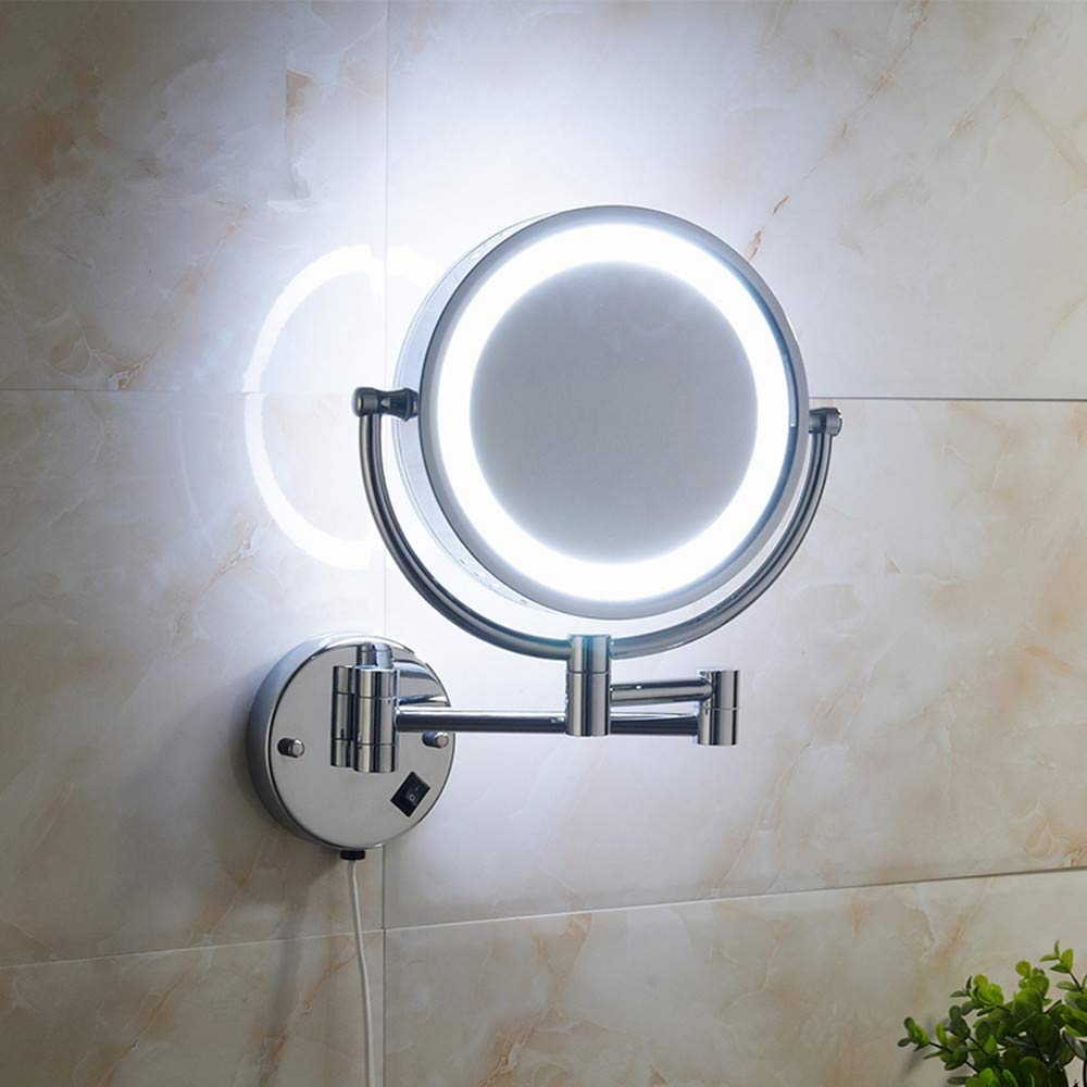 Cavoli Wall Mounted Makeup Mirror with LED Lighted 10x Magnification,8.5 Inches,Bathroom and Hotel, Chrome Finish,Made of Brass by Cavoli (Image #4)