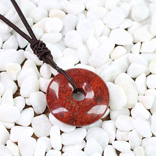 """Red Jasper Crystal Point Pendant 30mm with 20/"""" Silver Necklace Grounding"""