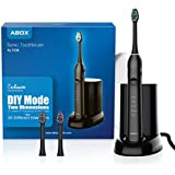 Sonic Electric Toothbrush UV Sanitizer for Adults/Kids, ABOX Travel Toothbrush Electric Rechargeable with Case, 5 Modes DIY 25 Intensities 48000 VPM Power Last 60 Days 2 Min Timer with 3 Brush Heads