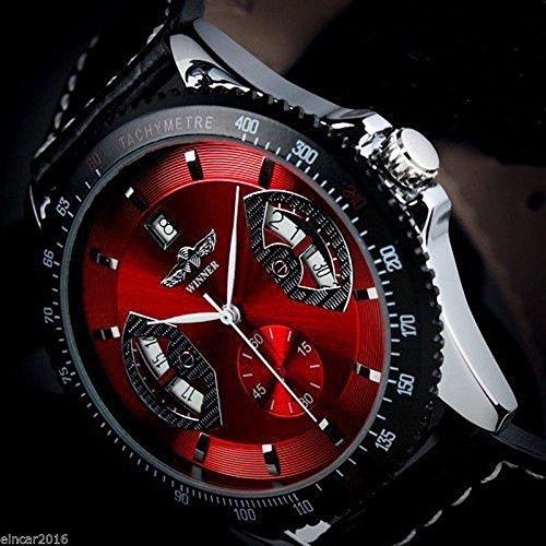 Black Self Winding Bracelet (Amyove Winner Mens Sport Red Black Leather Date Automatic Mechanical Army Wrist Watch)