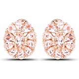 3.11 Carats Genuine Morganite Floral Stud Earrings Solid .925 Sterling Silver With 18KT Rose Gold Plating