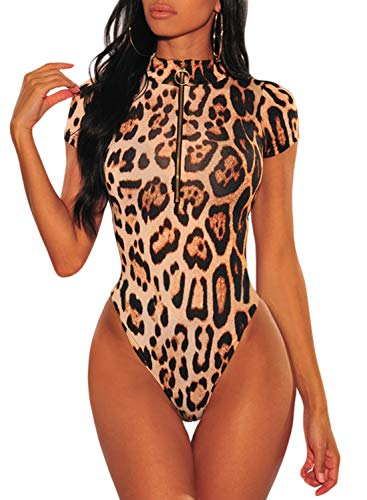 Momodani Women's Sexy Leopard Print Gold O-Ring Zipper Short Sleeve Bodysuit Bodycon Skinny Stretch Jumpsuit,Zip,Large