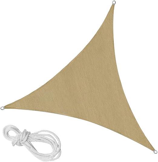 en.casa Tenda a Vela Parasole Impermeabile Triangolare 6,2x6,2x6,2m Beige