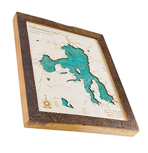 Joe Wheeler Reservoir (Joe Wheeler State Park Section) - Lauderdale County  - AL - 2D Map 11 x 14 in (Brown Rustic Frame/No Glass Front) - Laser carved