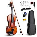 Vangoa 4/4 Full Size Solid Wood Violin Fiddle with Self-adhesive Pickup, Tuner, Case, Shoulder Rest, Rosin and Extra Strings for Beginner Student