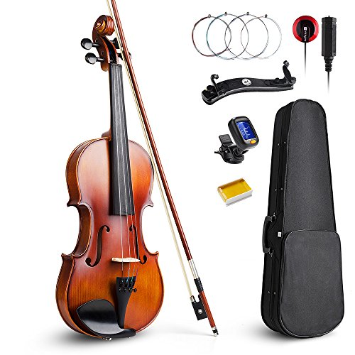 Vangoa 4/4 Full Size Solid Wood Violin Fiddle with Self-adhesive Pickup, Tuner, Case, Shoulder Rest, Rosin and Extra Strings for Beginner Student by Vangoa
