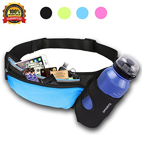 Malocaos Running Belt Waist Bag Fanny Pack for Women Men kids with Water Bottle Holder Elastic Reflective Lightweight Waterproof Pouch Fit iPhone X 6 7 8 Plus