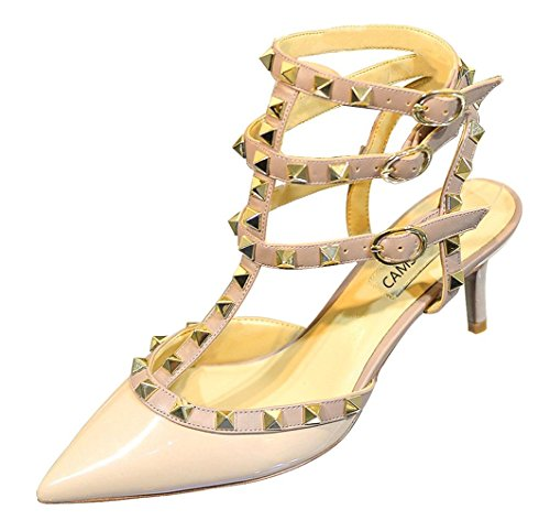 Sandals CAMSSOO Party Outdoor Stiletto Women's Nude Mid Pumps Strappy Patent Trim Beige Wedding Rivets Studded Gold Studs Shoes Heel nFrqBzRxF