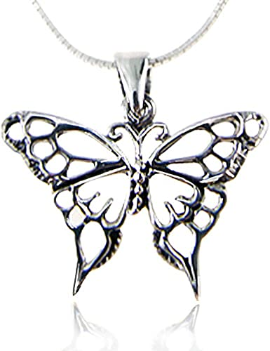 """New  Large  Beautiful  BUTTERFLY  Silver-tone Pendant  18/"""" 20/""""  Black Necklace"""