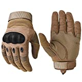 Military Hard Knuckle Tactical Gloves Motorcycle Gloves Motorbike ATV Riding Army Combat Full Finger Gloves for Men Airsoft Paintball Tan Large