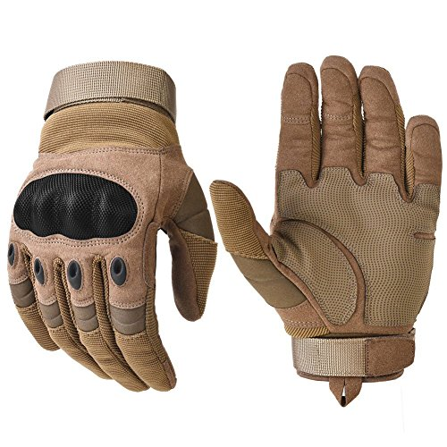 Military Hard Knuckle Tactical Gloves Motorcycle Gloves Motorbike ATV Riding Army Combat Full Finger Gloves for Men Airsoft Paintball Tan Medium by REEBOW TACTICAL