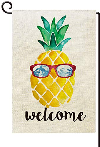 (Agantree Art Welcome Pineapple Summer Garden Flag Waterproof Double Sided Yard Outdoor Decorative 12 x 18 Inch)