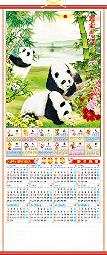 Feng Shui Import 2019 Chinese New Year Wall Scroll Calendar w/Picture of Panda for Lunar Year of Pig