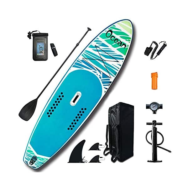 Kanqingqing-Sport Stand Up Paddel Gonfiabile Soft Top Stand Up Paddle Tre Pinne Consiglio SUP Pacchetto con Pala… 1 spesavip