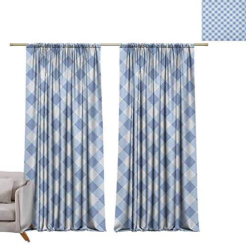 berrly Tie Up Printed Blackout Curtain Geometric,Diamond Rhombus Pattern Checkered Grid Style Mosaic Composition, Slate Blue and Baby Blue W84 x L108 Tie Up Window Drapes Living - Outdoor Furniture Mosaic Tiffany