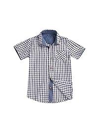 Jwhui Toddler Plaid Shirts Summer Outfits Baby Boy Short Sleeve Tops Children Print Button Kids Blouses Shirt