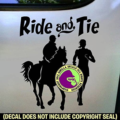 RIDE AND TIE Horse Runner and Rider Distance Vinyl Decal Sticker B