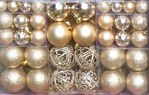 100 Weihnachtskugel Creme-Champagner changierend glänzend glitzernd matt mit 100 Metallhaken Christbaumschmuck bis Ø 6 cm Baumschmuck Weihnachten Deko Anhänger