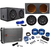 2) Kicker 43CVR124 COMPVR 1600W 12 Subwoofers+Sealed Box+Mono Amplifier+Amp Kit