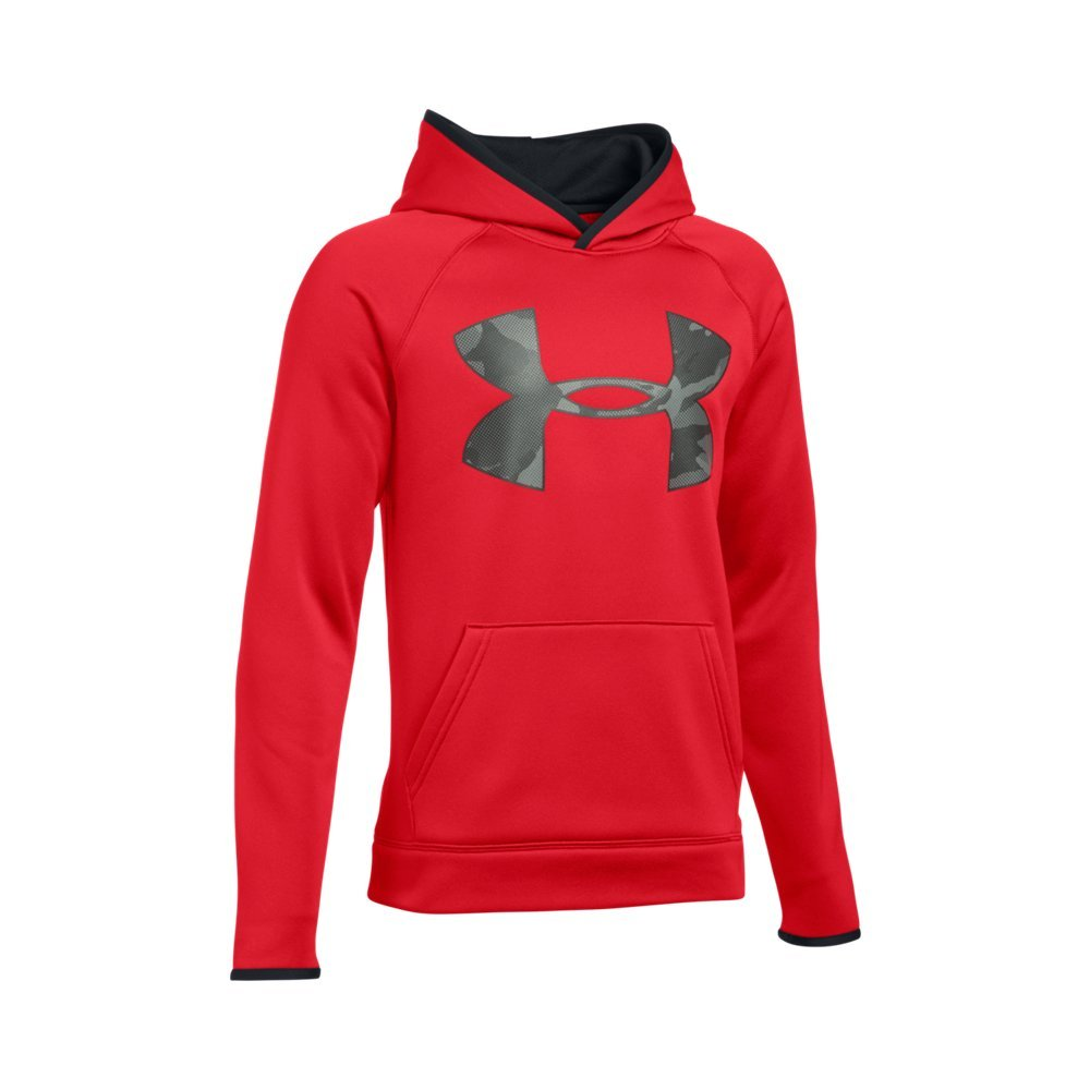 Under Armour Boys' Storm Armour Fleece Highlight Big Logo Hoodie, Red (601)/Black, Youth Small