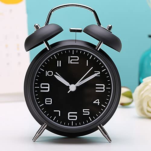 大音量 目覚まし時計 ベル音 アナログ 連続秒針 ナイトライト付 クオーツ アラームクロック 置き時計
