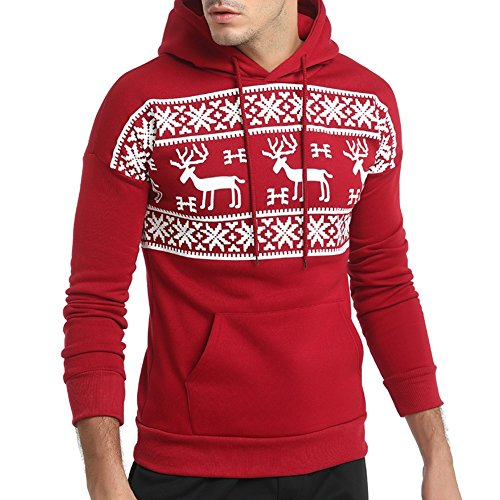 LETSQK Men's Christmas Pullover Hoodie Adult Ugly Reindeer Hooded Sweatshirt Red M