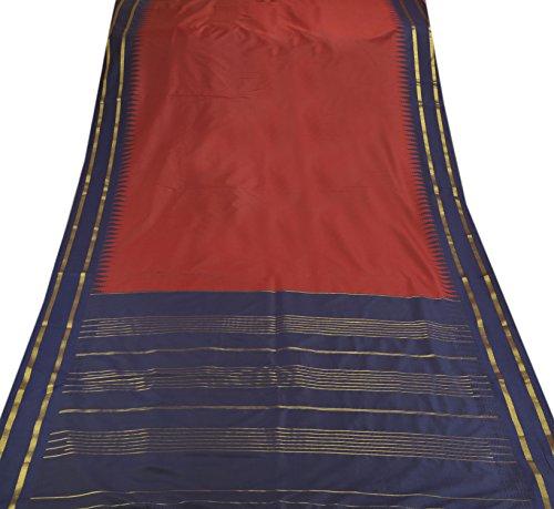 Skirts 'N Scarves Women's Blue Art Silk Sari & Blouse Piece With Woven Gold Stripe Border